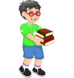 handsome children cartoon walking with bring books vector image