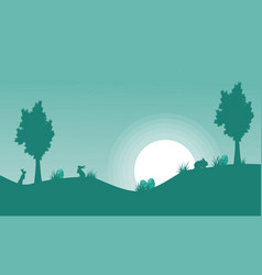 silhouette of bunny and moon landscape vector image vector image