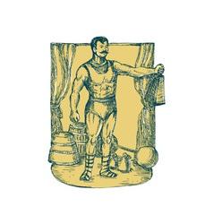 Strongman lifting weight drawing vector