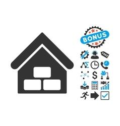 Warehouse Flat Icon with Bonus vector image vector image