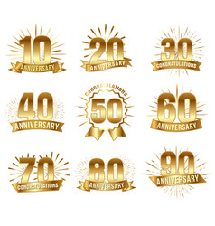 anniversary numbers in gold vector image