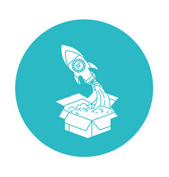 circle light blue with space rocket coming out of vector image vector image
