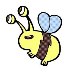 comic cartoon happy bee vector image vector image