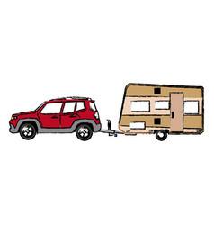 drawn suv car camper trailer travel transport vector image vector image