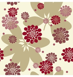 Flowers and leafs seamless background vector image