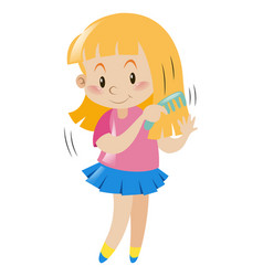 little girl combing her hair vector image vector image