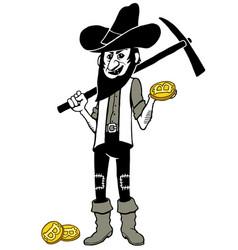 bitcoin miner cartoon vector image