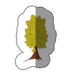 lime green sticker beautiful tree icon vector image