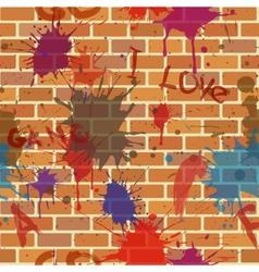 Seamless dirty brick wall graffiti paint vector