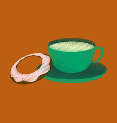 flat shading style icon cup of tea and donat vector image vector image