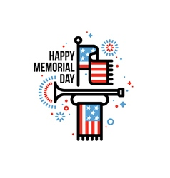 Memorial Day card with American flag and bugle vector image