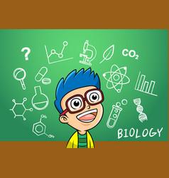 school boy write chemistry biology vector image