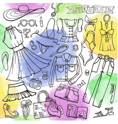 summer fashion setwomangirl wearwatercolo vector image vector image