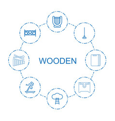 8 wooden icons vector image