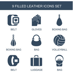 9 leather icons vector