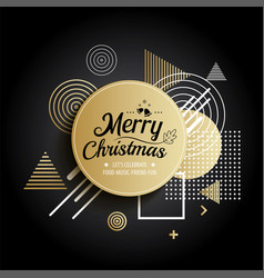 Abstract meryy christmas gold circle geometric vector
