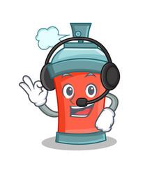 Aerosol spray can character cartoon with headphone vector