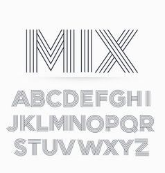 Alphabet letter font in line stripe style vector
