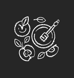 Apples and honey pot chalk white icon on black vector