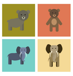 Assembly flat icons nature bear elephant vector
