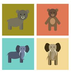 Assembly flat icons nature bear elephant vector