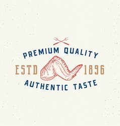 authentic taste meat vintage typography label vector image