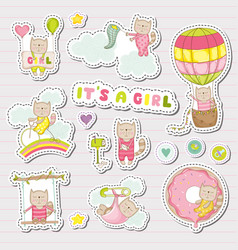 Bagirl stickers for bashower party vector