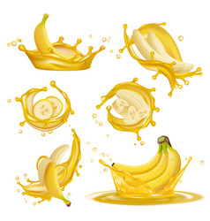 banana juice liquid yellow drops from bannanas vector image