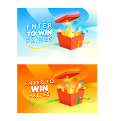 banners enter to win prizes open gift box vector image