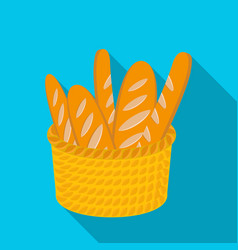 Basket of baguette icon in flat style isolated on vector