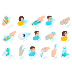 biometric authentication isometric icons vector image