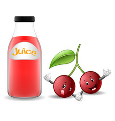bottle of cherry juice with cute cherry cartoon vector image