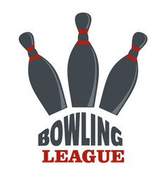 Bowling league logo flat style vector