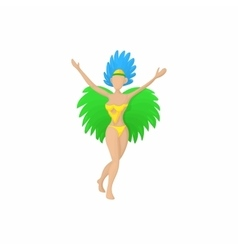 Brazilian girl in carnival icon cartoon style vector image