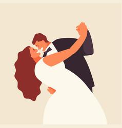 Bride and groom newlyweds vector