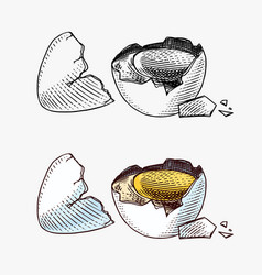 Broken egg with yolk and shell farm product vector