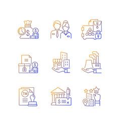 Business development gradient linear icons set vector