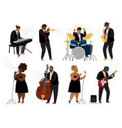 Cartoon jazz band musicians vector