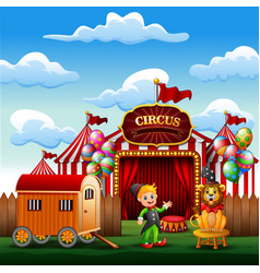 cartoon trainer with a lion on the circus entrance vector image
