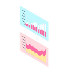 chart with columns and numbers on rectangle vector image