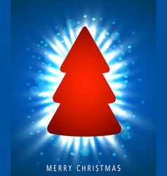 christmas tree made of red paper on blue vector image