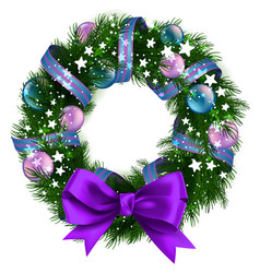 Christmas wreath with ribbons balls and bow vector