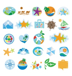 Collection icons for travel and tourism vector