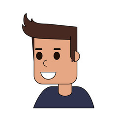 color image cartoon side view half body guy with vector image