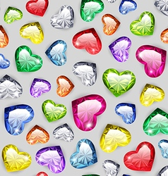 Colorful Gem Hearts Seamless Pattern vector