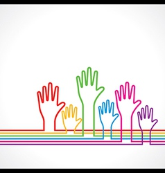Colorful hands background vector image