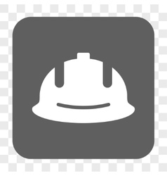 Construction Helmet Rounded Square Button vector image