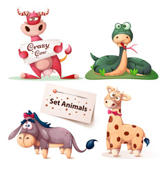 cow snake donkey giraffe - set animals vector image