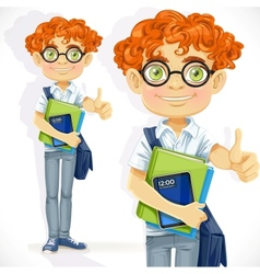 Cute boy in glasses with textbooks vector image