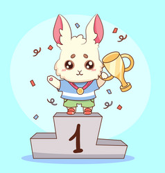 cute rabbit bunny champion with medal and goblet vector image